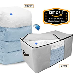 Kingdom Home New Storage Space Bag/Storage Bag Tote with Reusable Vacuum Space Saver Bags. Organizing System That Protects Your Comforters, Clothing, Bedding, More! (4 Pcs Set) (Gray - Closet Model)