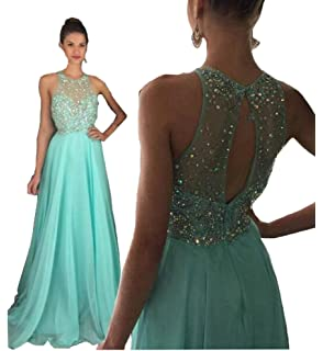 Fanciest Womens Halter Beaded Prom Dresses 2016 Long Evening Gowns