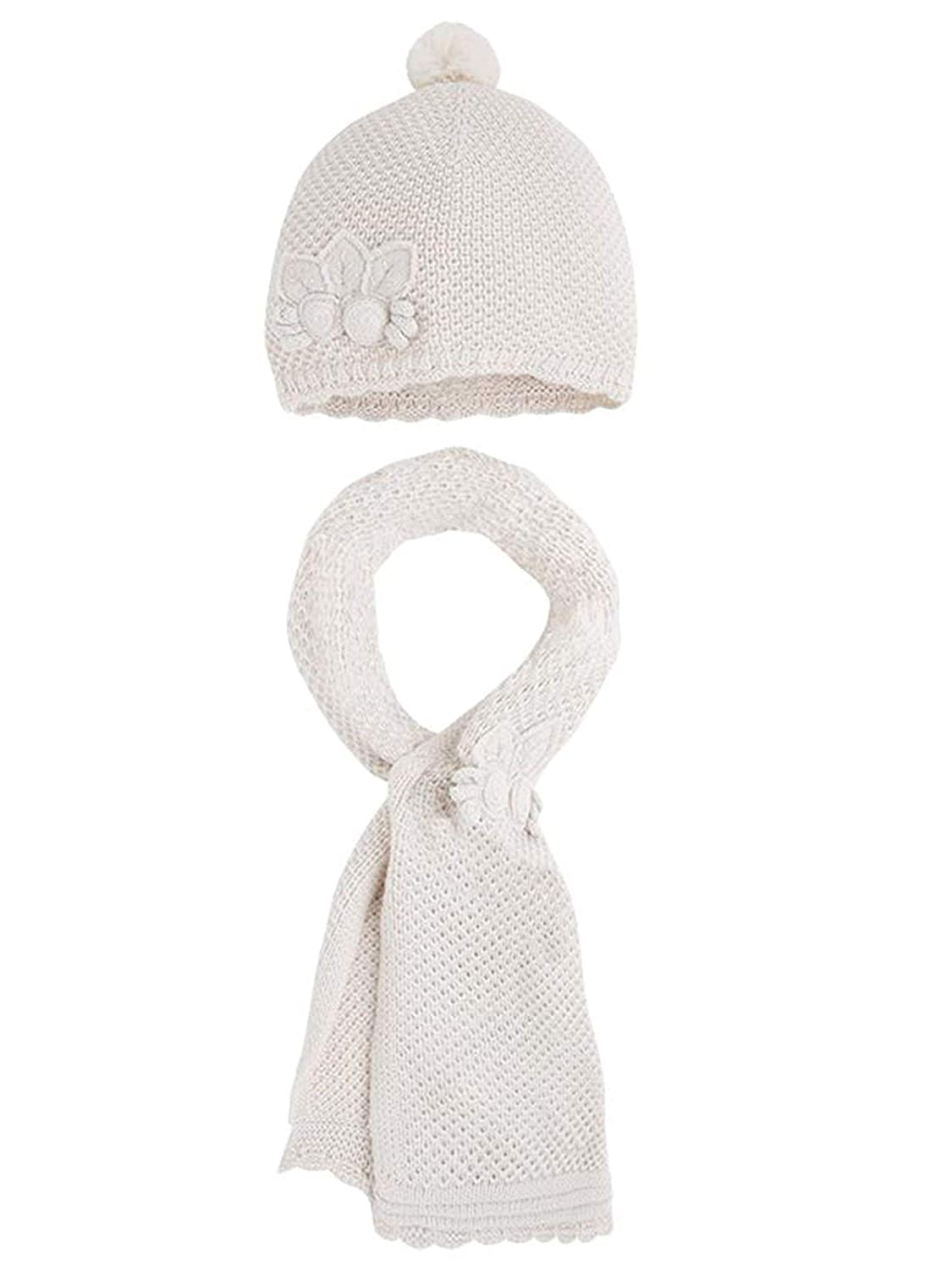 Little Girls Flower Applique Angora Blend Knit Hat//Scarf Set