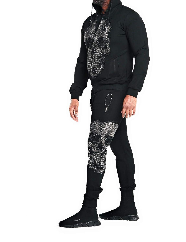 Silver Haute Chic Haute Guy Men/'s Crystal Skull Skeleton Zip Up Hoodie Pullover Sweatshirt Sweatsuit Black