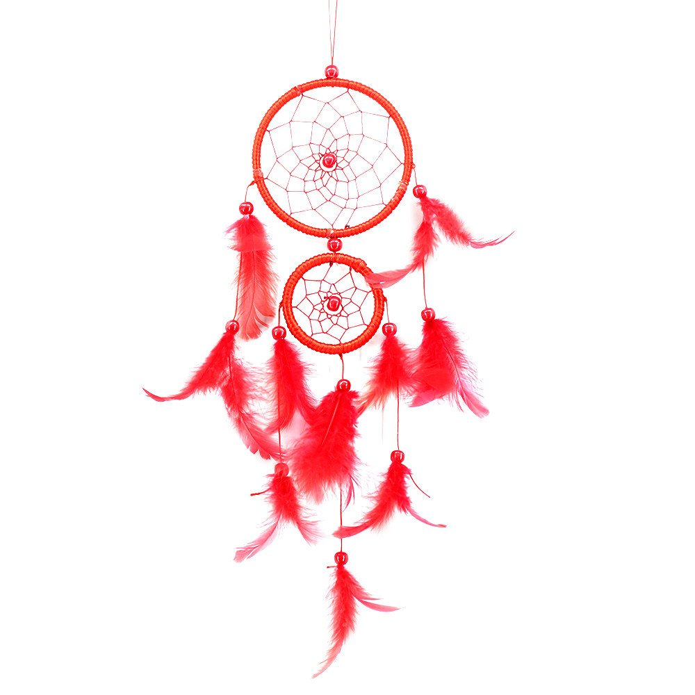 ADESHOP Feather Bead Hanging Decoration, Handmade Lace Dream Catcher Ornament Gift F13