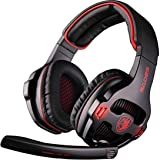 SADES SA903 Gaming Headset 7.1 Surround Sound USB PC Computer Stereo Game Headphone with Microphone LED Light(Blackred)