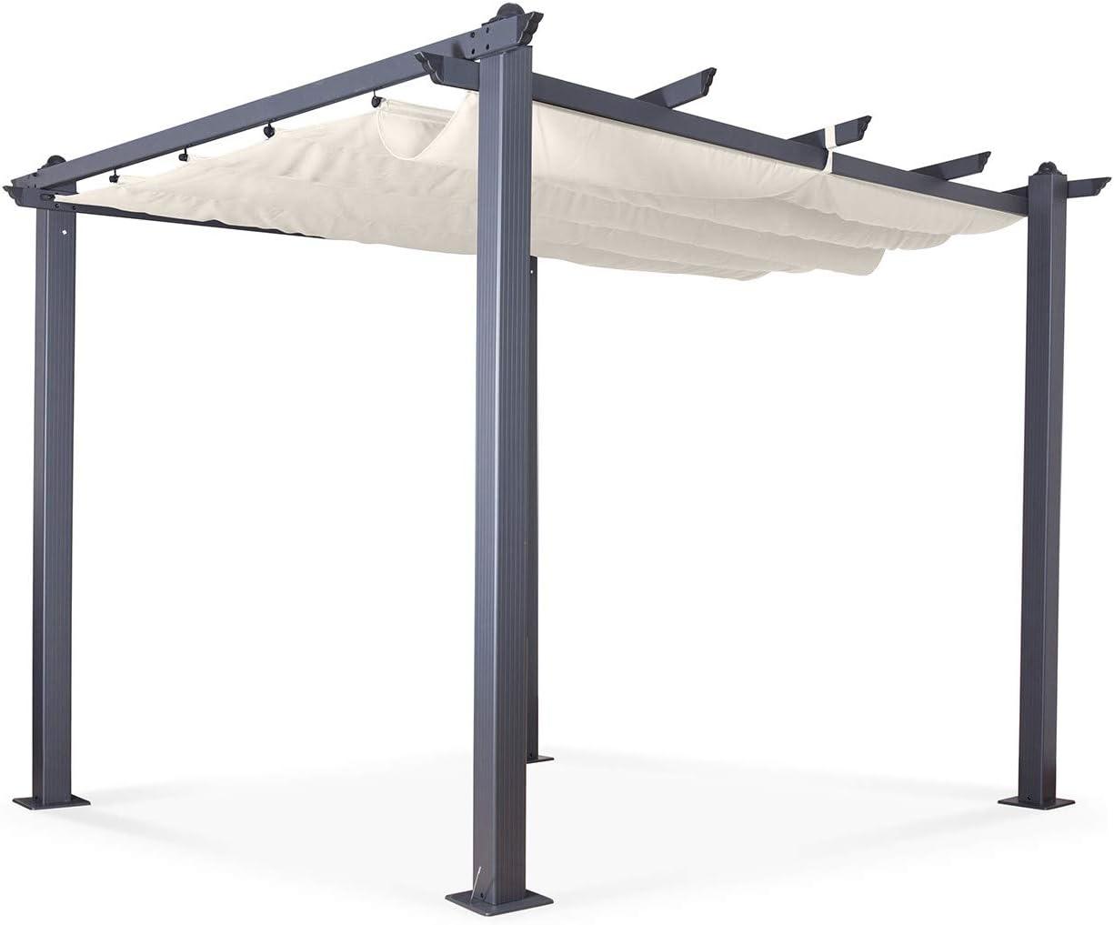 Avril Paris - Cenador de Aluminio (3 x 3 m, Tejido Deslizante ...