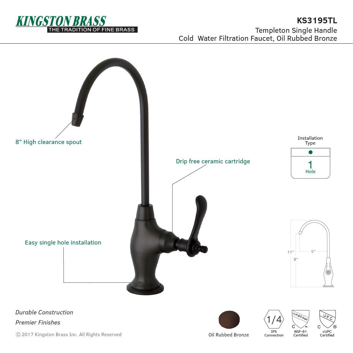 Kingston Brass Gourmetier KS3195TL Templeton Design 1/4 Turn Water Filter Faucet, Oil Rubbed Bronze by Kingston Brass