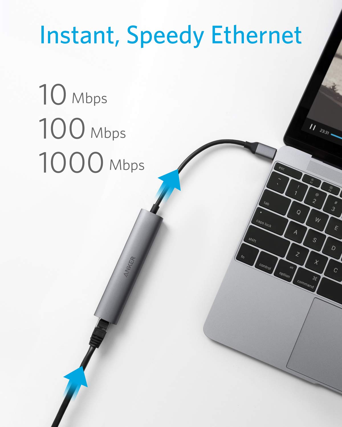 B071G83L1J Anker USB C Hub Adapter, 5-in-1 USB C Adapter with 4K USB C to HDMI, Ethernet Port, 3 USB 3.0 Ports, for MacBook Pro 2019/2018/2017, iPad Pro 2019/2018, ChromeBook, XPS, and More 61vAjHuyOrL
