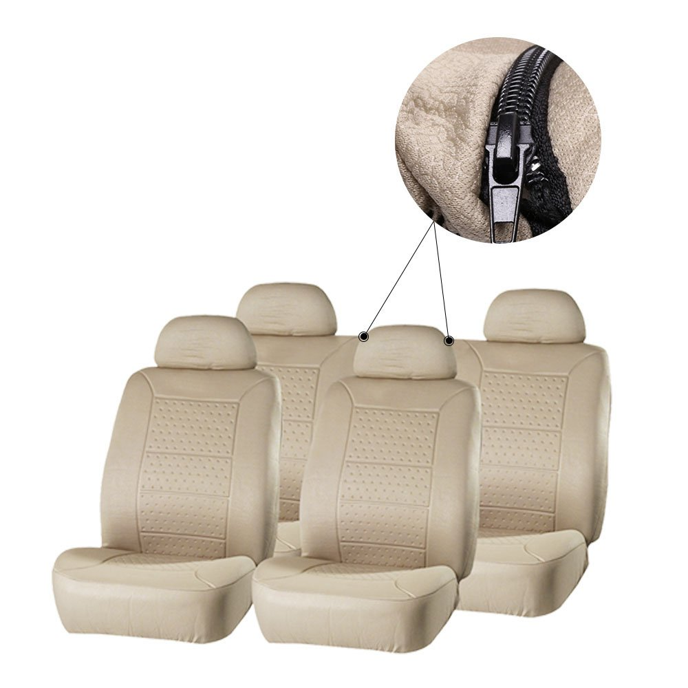 Scitoo 13-PCS Car Floor Mats W/Trunk Liner Beige Car Seat Covers for Heavy Duty Vans Trucks by Scitoo (Image #7)