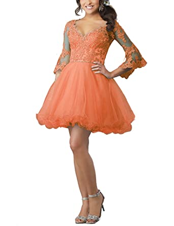 Now and Forever Womens Long Sleeve Lace Short Homecoming Prom Dresses Keyhole Back Ball Gown Formal