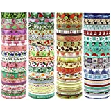 JPSOR Washi Tape Set, 5mm Wide Decorative Masking Adhesive Tape Four Season Paper Tape, Great for DIY, Craft, Gift, Scrapbook-Decorative, Multi-Purpose(48 Rolls) (Colorful)