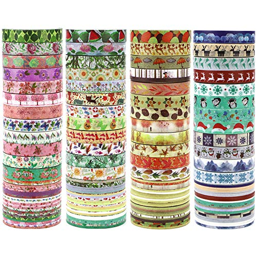 JPSOR Washi Tape Set, 8mm Wide Decorative Masking Adhesive Tape Four Season Paper Tape, Great for DIY, Craft, Gift, Scrapbook-Decorative, Multi-Purpose(48 Rolls) (Colorful) (Colorful) -