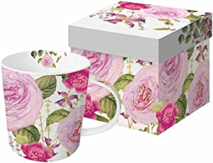 Paperproducts Design Decorative Bone China Mug Gift Box Set - Beverages, Hot, Cold Drinks, Tea – Artistic Designs, Decorated Mugs – 13.5 Ounces, Color Bakery/Art Licensing.Com Princess Rose Design