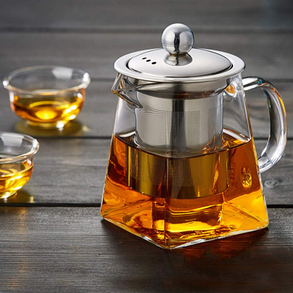 Nesee Glass Teapot with Infuser,350 Milliliter in Square Shape, Tea Strainers for Loose Leaf Tea Microwavable and Stovetop Safe