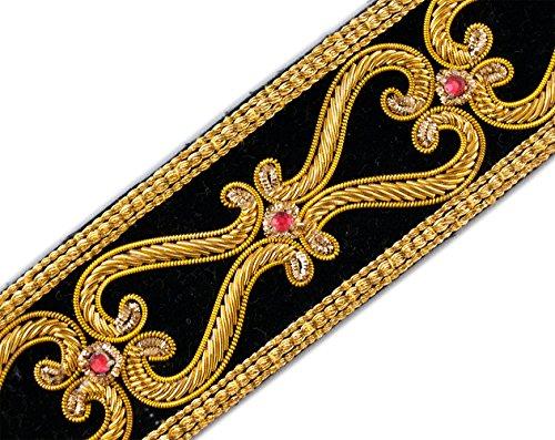Knot Celtic Trim (Our Finest Hand-Beaded Trim Renaissance Style Gold Bullion on Black Velvet 1.5