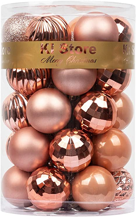 KI Store 34ct Christmas Ball Ornaments 1.57 Small Shatterproof Christmas Decorations Tree Balls for Holiday Wedding Party Decoration Tree Ornaments Hooks Included Ivory, 1.57-Inch