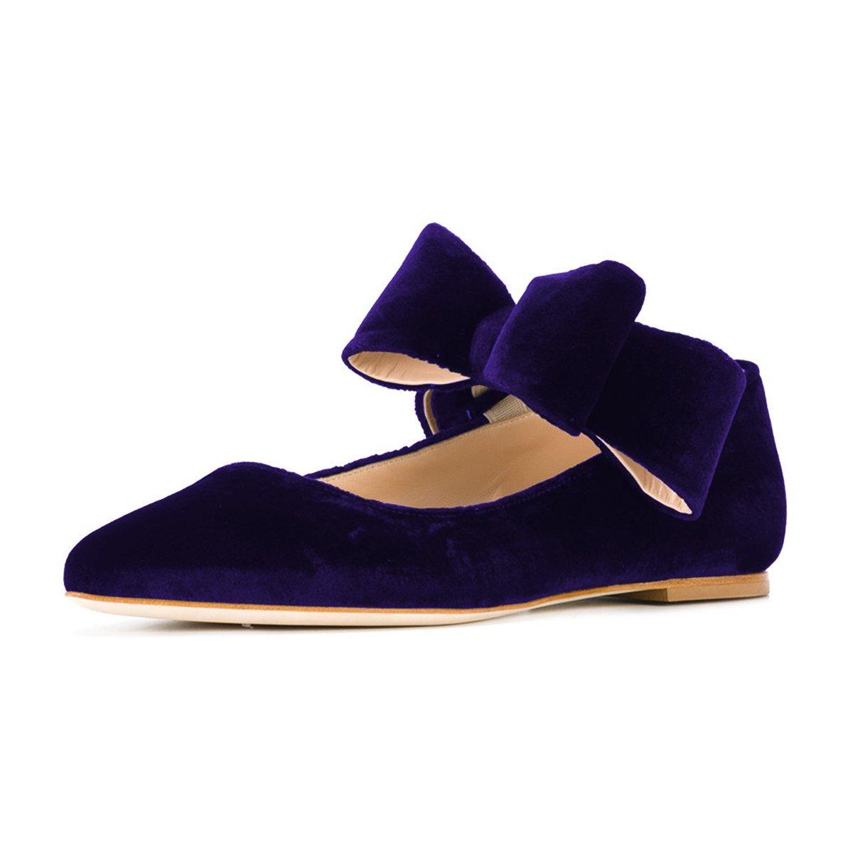 FSJ Women Cute Pointed Toe Flats With Bowknot Velvet Low Heels Slip On Comfy Shoes Size 4-15 US B076Q9197G 11 B(M) US|Purple