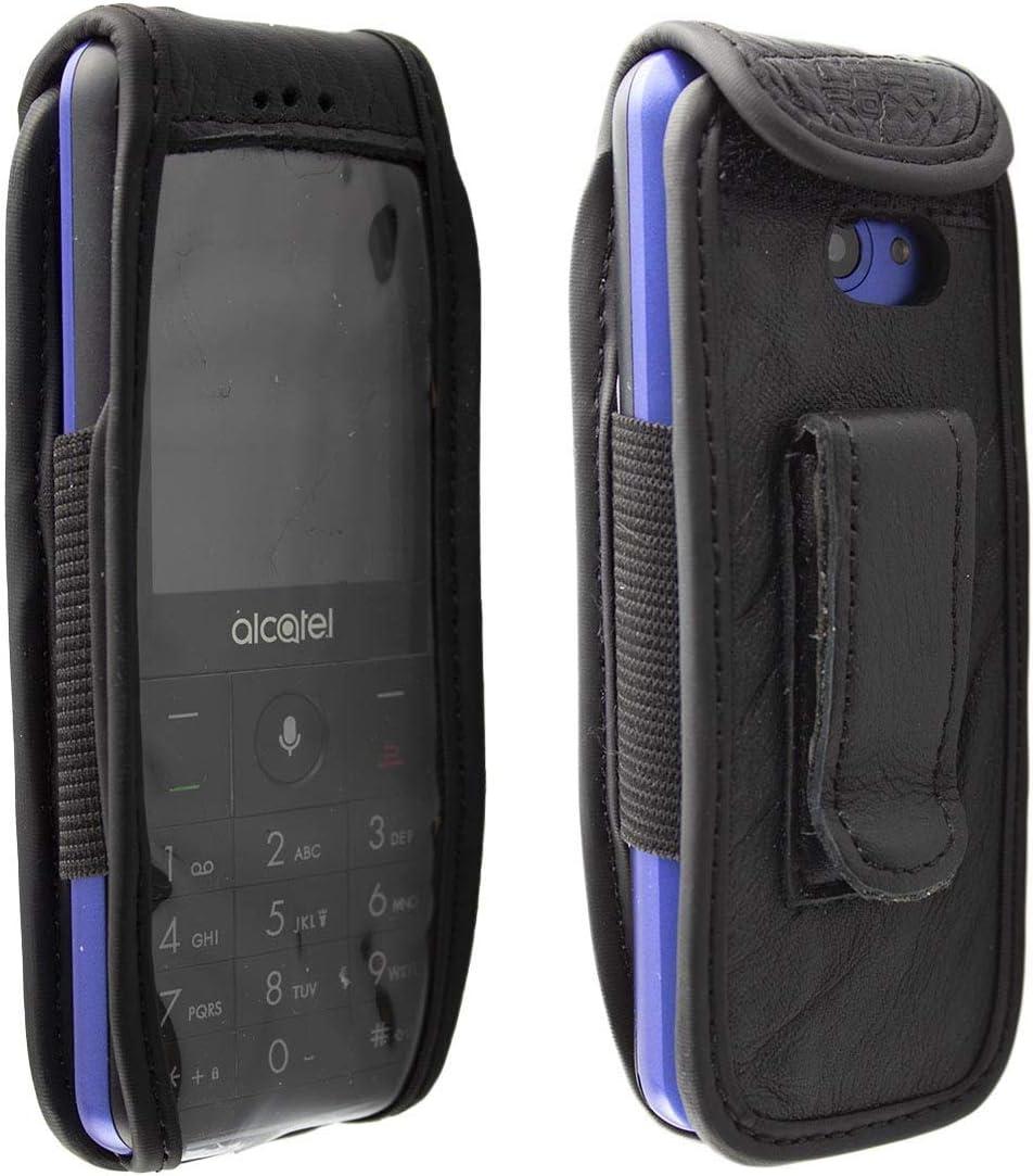 caseroxx Bolsa de Cuero con Clip para el cinturón para Alcatel 3088 / 3088X, Funda Carcasa de Cuero Real en Negro