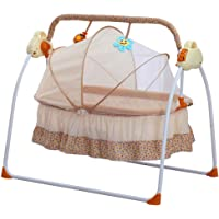 PRIT2016 Electric Baby Crib Cradle Auto-Swing Bed Baby Bassinet Cradle Space Safe Crib Comfort with Music Remote Control (Khaki)
