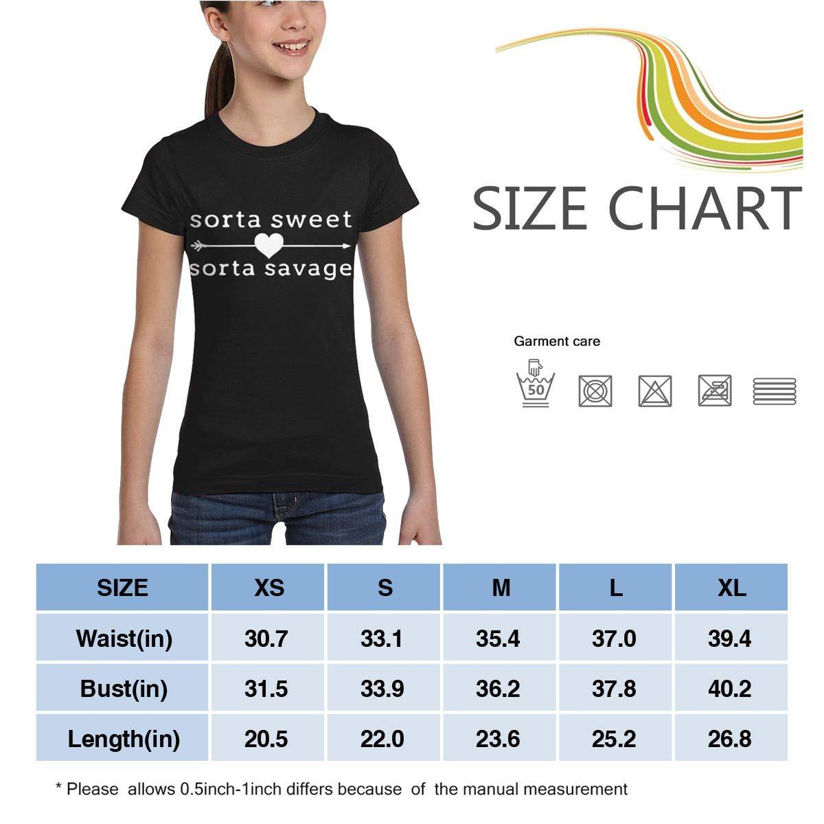 Casual Tunic Shirt Dress XS-XL L6Nv4o@A Girls Short Sleeve Sorta Sweet Sorta Savage Shirts
