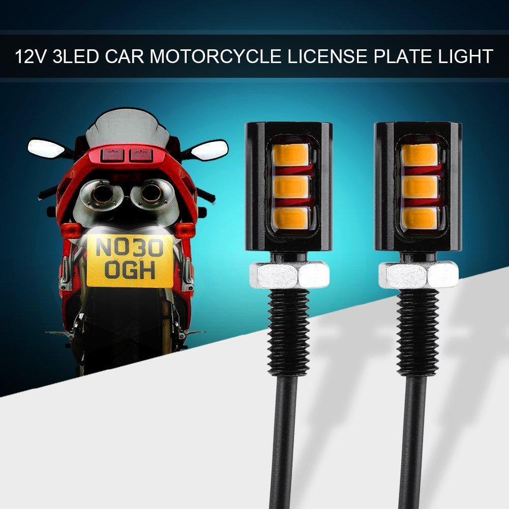Qiilu 24V 3 LED Universale Motociclette Numero di Licenza per Piastre a Vite Bullone Yellow