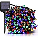 Multi-Color Solar Christmas String Lights,72FT 200 LED Waterproof Fairy String Lights Hanging for Indoor/Outdoor Commercial Decor Ambiance Lighting for Garden Backyard Wedding Holiday Party(8 Modes)