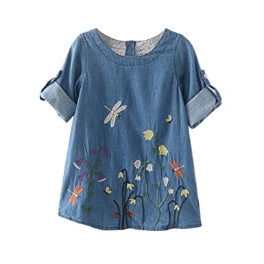 37ee1a97532 Goodlock Toddler Kids Fashion Dress Baby Girls Clothes Flower Embroidery  Denim Princess Dresses (Size