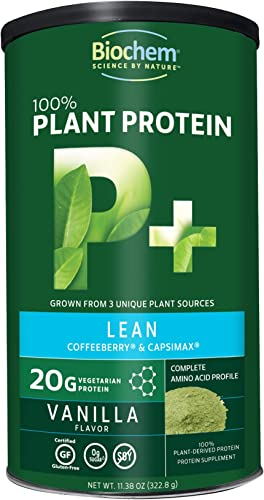 Biochem 100 Plant Protein – Lean – Vanilla – 11.38 oz – 20g Vegetarian Protein – Complete Amino Acid Profile – Keto-Friendly – Coffeeberry – Capsimax – Nutrient Rich – Weight Management