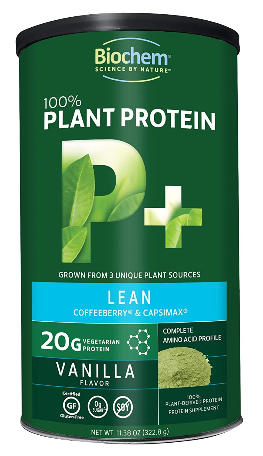 Biochem 100 Plant Protein – Lean – Vanilla Flavor – 11.38 Ounce – 20g Vegetarian Protein – Complete Amino Acid Profile – Keto-Friendly – Coffeeberry – Capsimax – Nutrient Rich