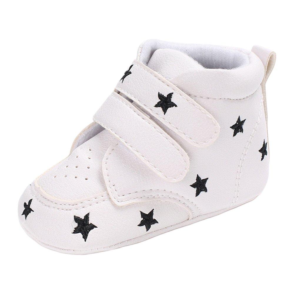 ed6257aa17f74 Estamico Chaussures antidérapantes en cuir PU pour fille de bébé garçon  Baskets montantes blanches Noir ...