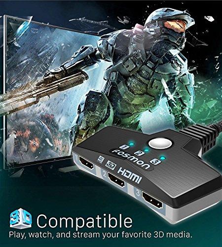 Fosmon 3-Porte Interruttore HDMI 4K 30Hz, 3x1 Switch HDMI Automatico Selettori Switcher Auto UHD HDR 3D Full HD 1080p… 4 spesavip