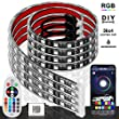 PROAUTO Flexible LED Strip Interior Lighting Glow Lighting Kit Wheel Well LED Light Kit Inside LED GlowGrill Lighting Kit with RGB Color Change, 4 Pieces 24'' Multi-Color LED Strips for Vehicle