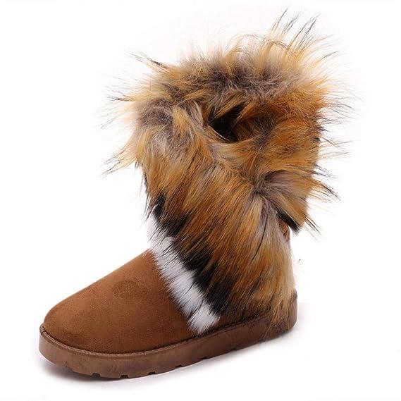 Dehots Damen Stiefel Stiefeletten Winterstiefel Kurzschaft Schlupfstiefel Schneestiefel Plüsch Schuhe Warme Gefütterte Boots Winter mit Fell für