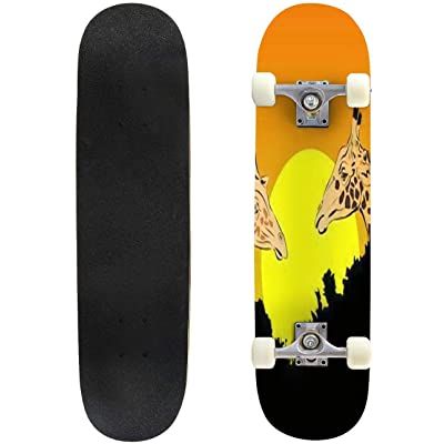 Classic Concave Skateboard Giraffe Vector Two tanding Behind The treesat Sunset Longboard Maple Deck Extreme Sports and Outdoors Double Kick Trick for Beginners and Professionals : Sports & Outdoors