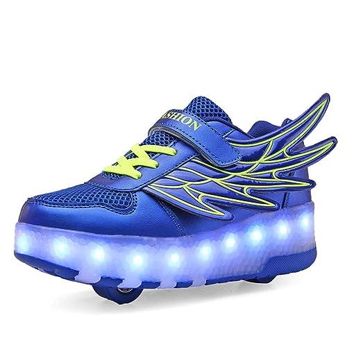 Unisex Niños Niñas LED Luz Flash Zapatos de Roller con USB Recargable Automática Ruedas Patines Al Aire Libre Gimnasia Running Zapatillas de Skateboard: ...