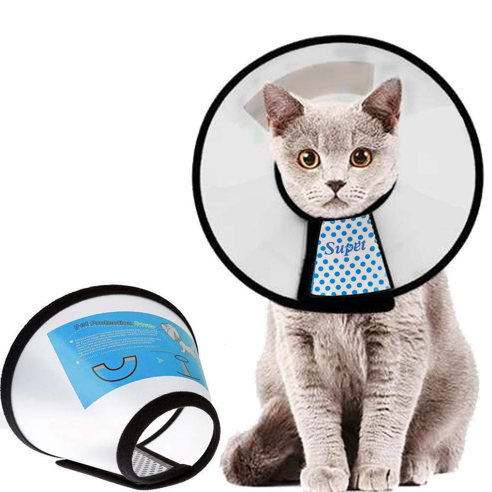 Supet Cat Cone Adjustable Pet Cone Pet Recovery Collar Comfy Pet Cone Collar Protective Collar for After Surgery Anti…
