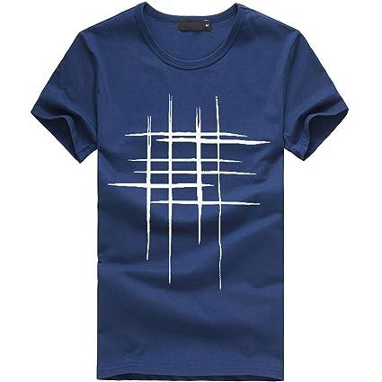 633bfff8d37c5 LuckyGirls Camisetas Hombre Originales Algodón Verano Manga Corta Rayas  Polos Casual Camisas (2XL