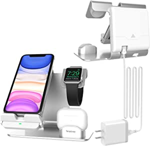 Smatree Wireless Charger,3 in 1 Fast Charging Station Compatible with Apple Watch Series SE/6/5/4/3, AirPods/Pro, iPhone 12/12 Pro/11/11 Pro/11 Pro Max/Xs MAX/8,Galaxy Note 10/S10 Plus