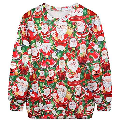 Mujeres Hombre Sudaderas Sweatshirt Manga Larga Camisetas Santa Claus De Impresión Navidad Top Pullovers De Fiesta Rojo