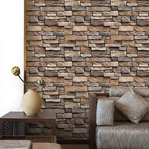 """YENHOME 17.7"""" x 196"""" Removable 3D Brick Wallpaper Stick and Peel Contact Paper for Kitchen Backsplash Peel and Stick Wallpaper for Living Room Wall Paper Bedroom Wall Decor Wallcovering"""