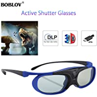 BOBLOV JX-30 144Hz Rechargeable 3D Active Shutter Glasses Eyewear for All DLP-Link 3D Projectors- Acer ViewSonic BenQ Vivitek Optoma Panasonic Dell Viewsonic (Blue)
