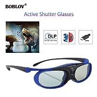 BOBLOV JX-30 144Hz Rechargeable 3D Active Shutter Glasses Eyewear for All DLP-Link 3D Projectors- Acer ViewSonic BenQ Vivitek Optoma Panasonic Dell Viewsonic (Blue)
