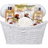 8 Piece Deluxe Tropical Coconut Body & Bath Gift Set - Includes all Bathing Essentials Complete with Large Basket and Bow Ribbon