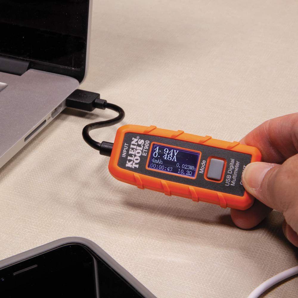 USB Power Meter, USB-A Digital Meter for Voltage, Current, Capacity, Energy Resistance Klein Tools ET900 by Klein Tools (Image #8)