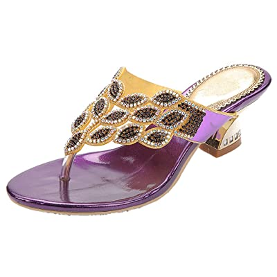 YooPrettyz Summer Rhinestone Thong Strap Sandals Sweet Sandal Gold Chunky Low Heel   Sandals