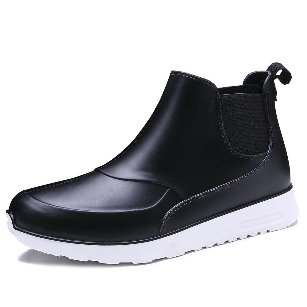 TONGPU Men's Slip ONS Waterproof Footwear Fashion Rain Boots Black US 7