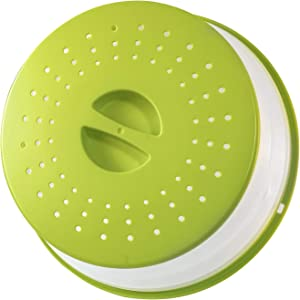 CHANSBO Microwave Splatter Cover for Food,High-temperature food microwave cover, Hangable, Drainer Basket, BPA-free, Dishwasher-Safe(Green)