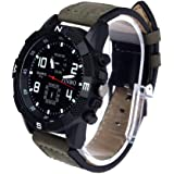 GuangYuan Men's Watch, Cool Quartz Stainless Steel Arabic Numeral Large Dial Canvas Leather Strap Watch