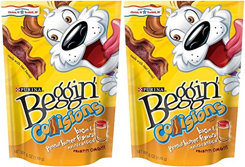Purina Beggin Collisions Bacon & Peanut Butter Flavors Made With Real Bacon Net Wt. 6 OZ (170 g) Each Pack of 2