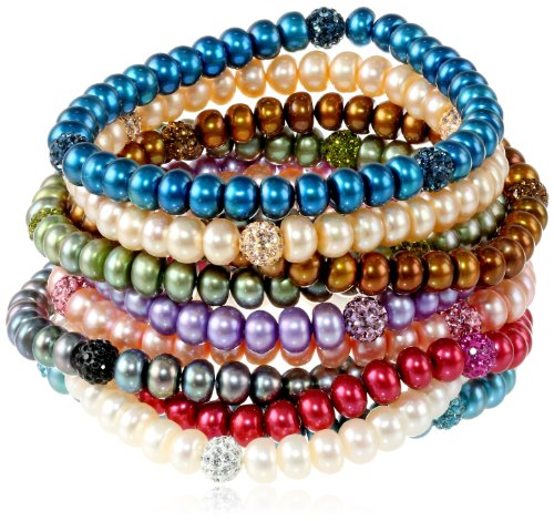 Honora Freshwater Cultured Pearl and Crystal Stretch Bracelet Set, 7.5