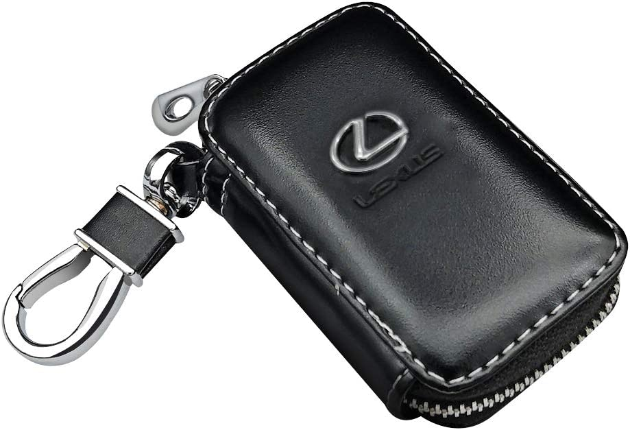 Black VILLSION Car Key Holder Genuine PU Leather Key Fob Case with Stainless Steel Hook with Metal Zipper Keychain