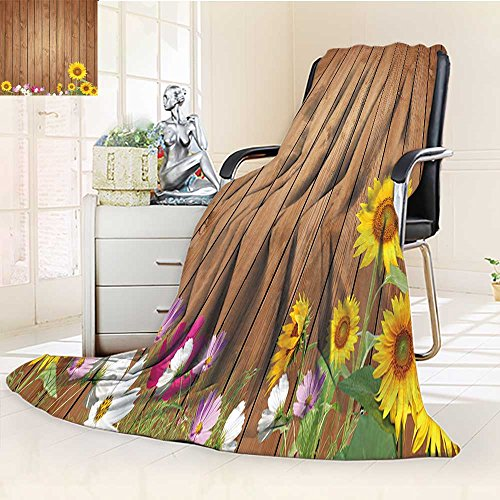 Digital Printing Blanket Antique Old Planks American Style Western Rustic Wooden and sunflower flower grass Summer Quilt Comforter by AmaPark