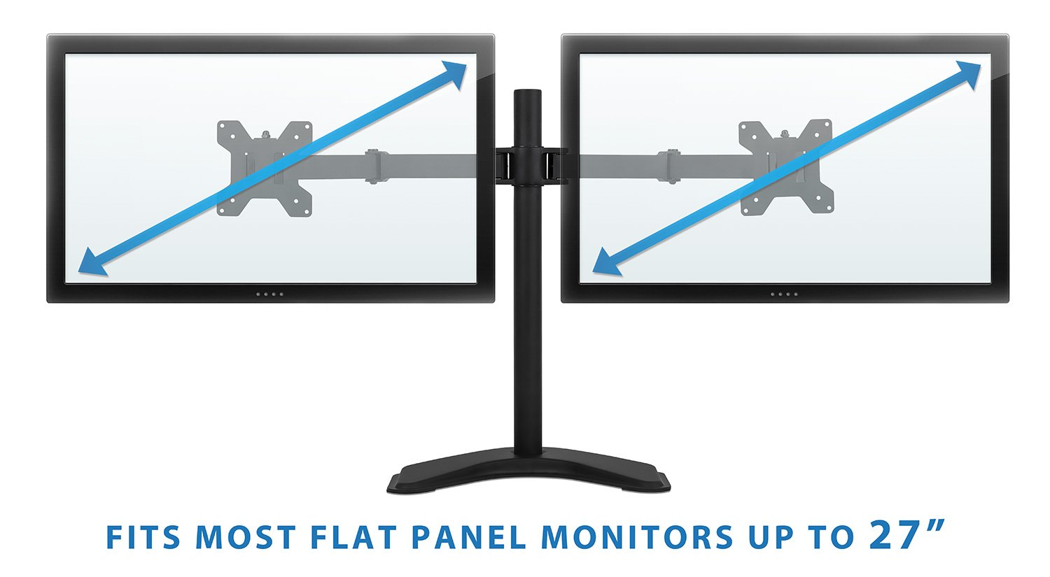 Dual Monitor Desk Stand Mount for LCD LED Computer Displays Two Articulating Arms Clamp Desk Installation Fits up to 27 Inch Screens Heavy-Duty 44 Lb Capacity VESA 75 and 100 Mount-It